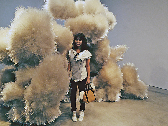 Yung Hee with Tara Donovan (Untitled)